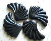 Unique Black fan Shaped Bead, Large Vintage Black Fan Leaf Beads, Leaf Acrylic Bead, Leaf Pendant Charm, Art Deco Beads, 4