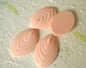 4 Vintage Lucite Bead Baby Pink Detailed Oval Cabochon