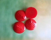 4 Red Cabochons, Vintage Cabochons, Vintage Lucite, Detailed Round Cabochon beads