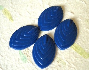 4 Vintage Lucite Beads Navy Blue Detailed Oval Cabochon