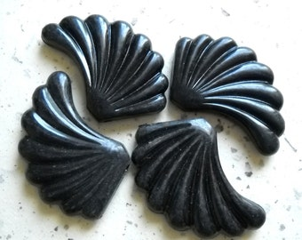 4 Vintage Lucite Beads Fan Leaf  Black Detailed Unique