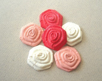 Vintage Soft Plastic Red pink and White Rose Cabochon Bead