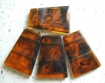 Tortoise shell Bead Unique Vintage Acrylic Beads Large Trapez  Brown Amber Bead charms, 4