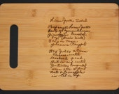 6 (Six) - Recipe scanned from Mom's or Grandma's handwriting -  6 Bamboo Cutting Board with Laser Engraved Recipe - Personalized  13 x 9.5
