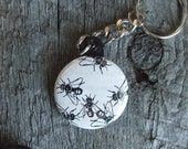 HOUSE FLY Keychain ((made with vintage images))