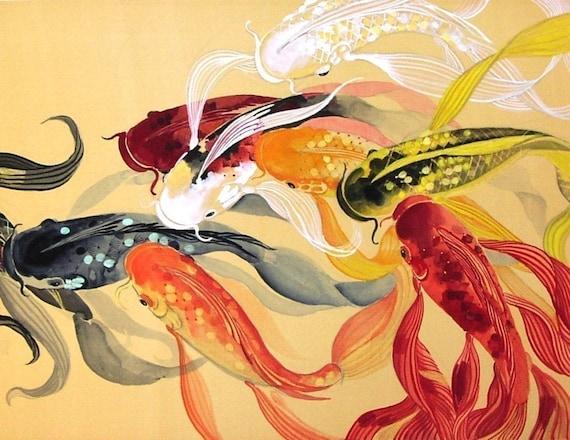 Nine ribbon dancing butterfly koi fish of chinese brush for Chinese art koi fish