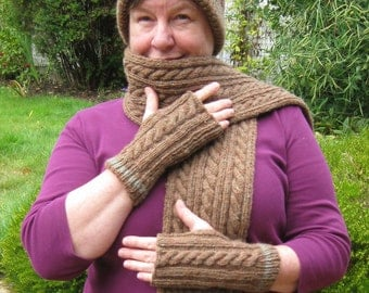 Fingerless Glove , Hat and Scarf Set - 100% Wool - Cable and Rib Pattern.  FREE SHIPPING WORLDWIDE