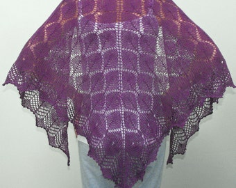 PDF/Knitting Pattern. Cotswold Leaves Triangular Lace Shawl Instant Download