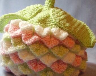 Flower Hat in Crocodile Stitch - Variegated Pinks - Photo Prop Hat - Toddler