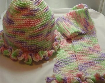 Rainbow Sherbet Baby Hat and Scarf - 12-18 months