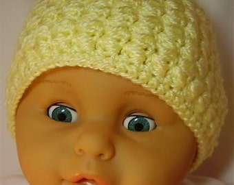 Yellow Crocheted Baby Hat - 9-12 months