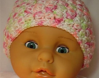 Pinks,Green and White Crocheted Baby Hat - 6-12 months