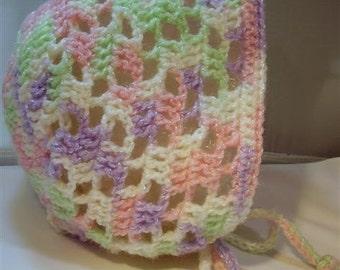 Rainbow Sherbert Baby Bonnet - 6-9 months