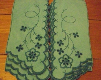 Beautiful blue vintage yokes for bathrobes embroidery flowers 12 pair velour