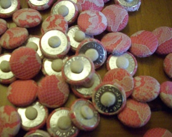 50 rose  satin fabric covered button with beige lace vintage