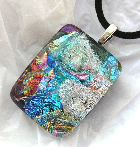 Dichroic Glass Pendant and Necklace