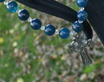 Celtic Cross and Fantasy Agate Necklace