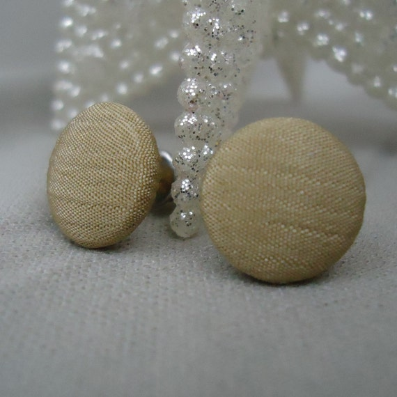 Tan Button Earrings