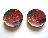 round wood button with floral print 28mm 6 pc set