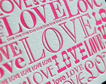 SALE – LOVE (bubblicious) - 4bar Letterpressed Card and Envelope