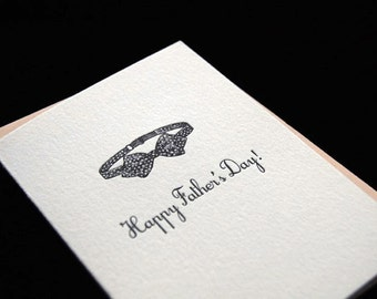 Happy Father's Day - Tuxedo Dad - 4-bar Letterpress Card and Envelope