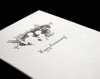 SALE – Happy Anniversary - Twilight Lovers - Letterpressed 4bar Card and Envelope