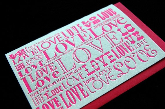 Valentine's Day - LOVE (bubblicious) - 4bar Letterpressed Card and Envelope