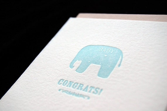 SALE – Congrats - New Baby Boy - 4bar Letterpressed Card and Envelope