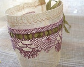 raw silk cuff with delicious plum needle lace / romantic boho hippie gpsy, rustic woodland fairytale