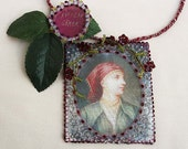 beautiful past times - ottoman inspired silk textile necklace - textile jewelry - ooak
