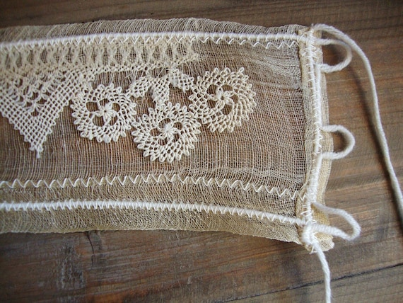cream white romantic art cuff with vintage handwoven raw silk  and new needle lace - bridal cuff