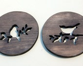 Bird Silhouettes - trivet set in walnut stain