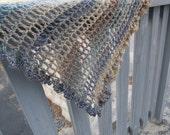 Sideways crochet shawl or scarf pattern: Asymmetry in motion with chart