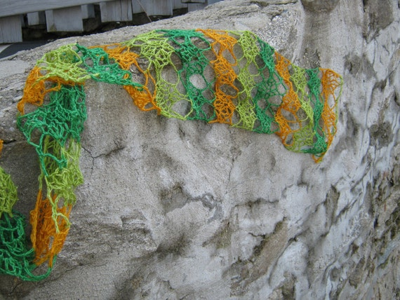 easy lace spring summer Lovely Lisa scarf crochet pattern pdf for self striping fingering yarn