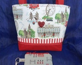 London Themed Zippered Purse and Keychain Pouch Set