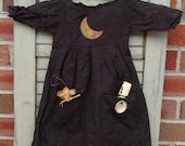 Primitive Halloween Witch Dress with Mouse pattern, witch mouse, Spell book, witchy halloween