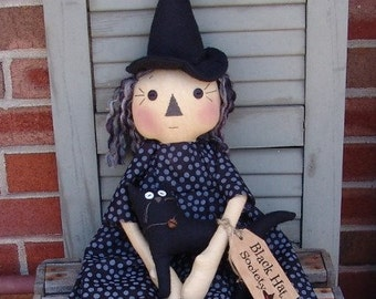 Primitive Halloween Witch doll pattern, Black Hat society, Raggedy witch with cat, Halloween decor, HFTH154