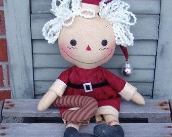 Primitive Raggedy Santa Ann Doll Pattern, Christmas decor pattern, Christmas Santa pattern, HFTH177