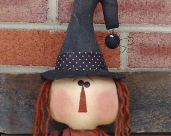 Primitive Halloween doll pattern, Primitive Halloween witch pattern, Raggedy cloth doll pattern, HFTH138