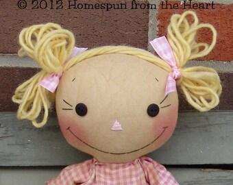 Raggedy Ann Doll Lulu and her Lollipop pattern, raggedy doll pattern, wool pattern, woolfelt lollipop, HFTH169