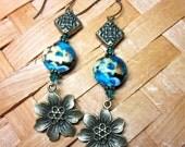 Lampwork Earrings with Lampwork beads, Swarovski Crystal, Brass Charms, Brass Earwires, Flower Earrings, Glass Earrings