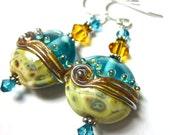 Lampwork Earrings, Handmade Artisan Lampwork Beads, SRA Artist, Swarovski Crystals, Sterling Silver Earwires and Components