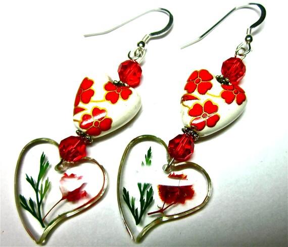 Lampwork Earrings, Glass Earrings, Lucite Hearts, Swarovski Crystals, Lampwork Beads, Sterling Silver Earwires, Heart Earrings