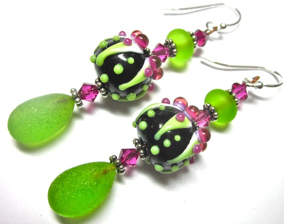 Lime Green Earrings Funky Earrings Handmade Earrings Lampwork Earring Colorful Earrings Glass Earrings Artisan Earrings Pod Earrings