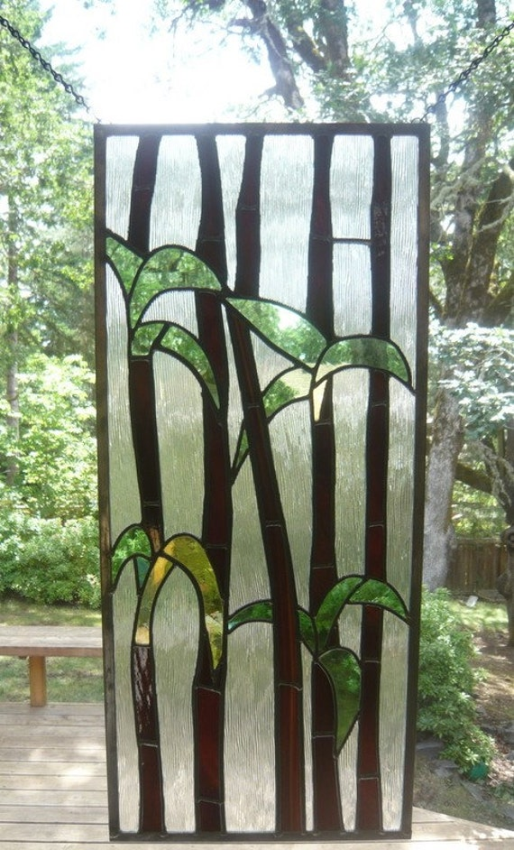 Bamboo Glass Panels : Bamboo stained glass panel ii