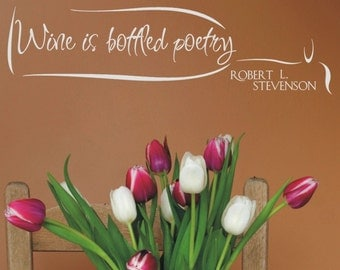 Wine is Bottled Poetry Vinyl Wall Lettering Transfer with wine bottle graphic - makes a great gift
