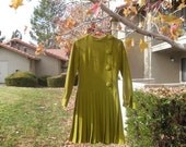 Mustard Green Vintage Wool Dress
