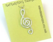 Treble Clef Music Pendant - Choose your Color and Size