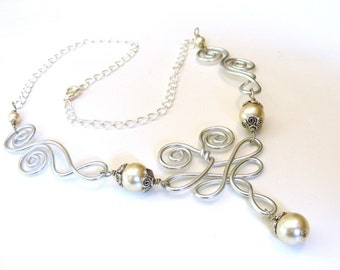 Breezy Wings - Wire Work and Pearl Necklace - Customize Your Color