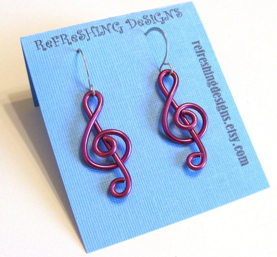 Treble Clef - Music Earrings -  Customize your Color